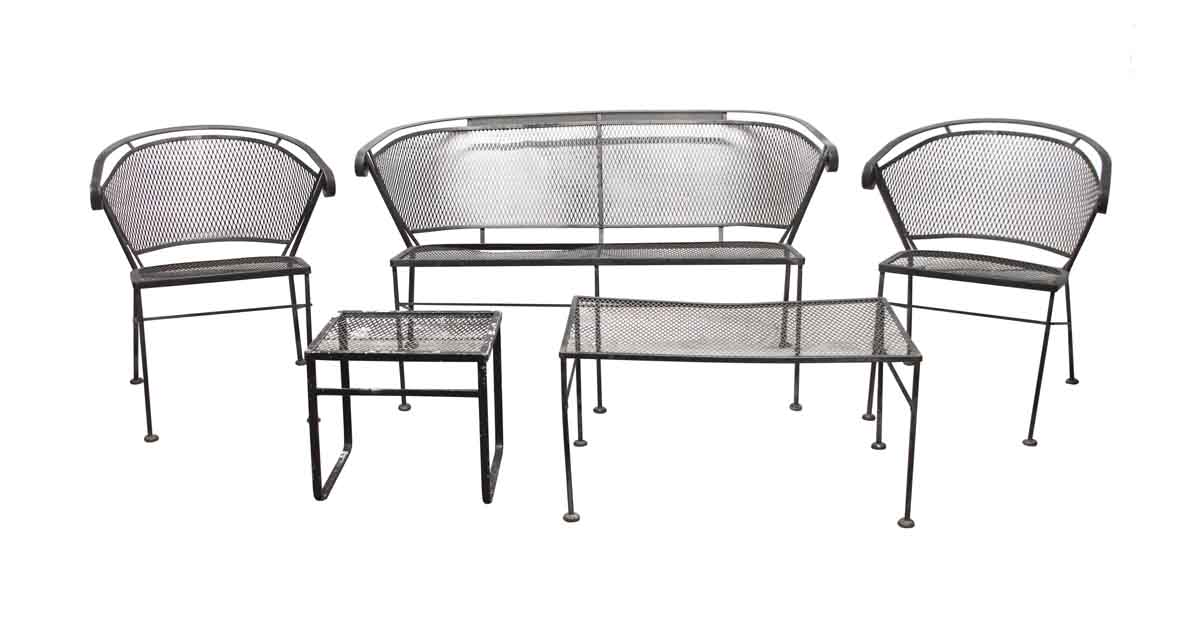 Vintage Mesh Black Iron Outdoor Patio, Wrought Iron Patio Furniture Sets