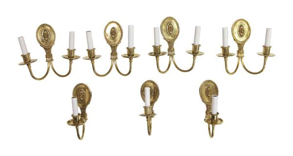 Sconces & Wall Lighting - Set of Restored Greek Key Polished Brass Sconces