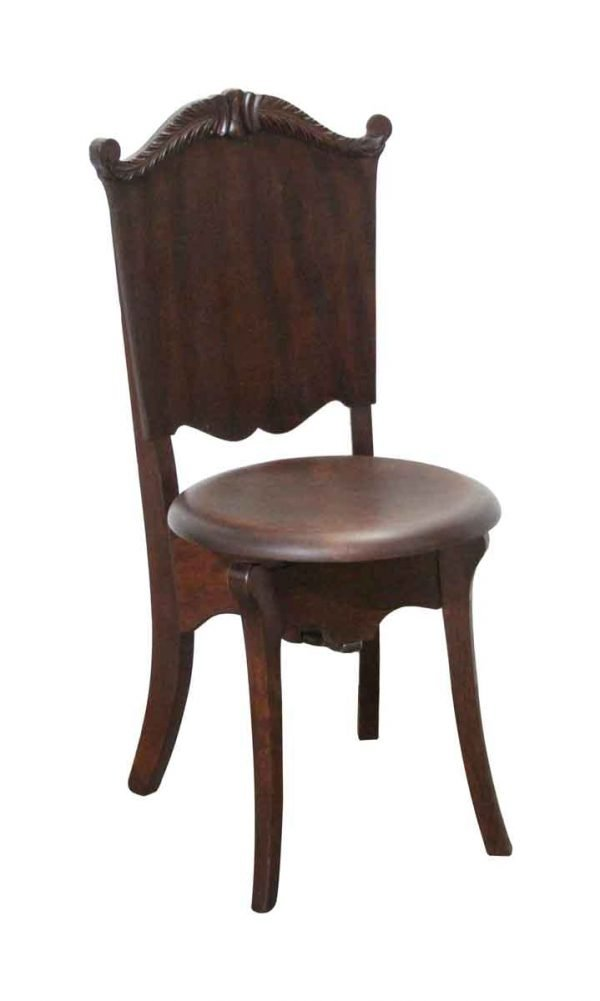 Seating - Adjustable Carved Mahogany Chair with Swivel Seat