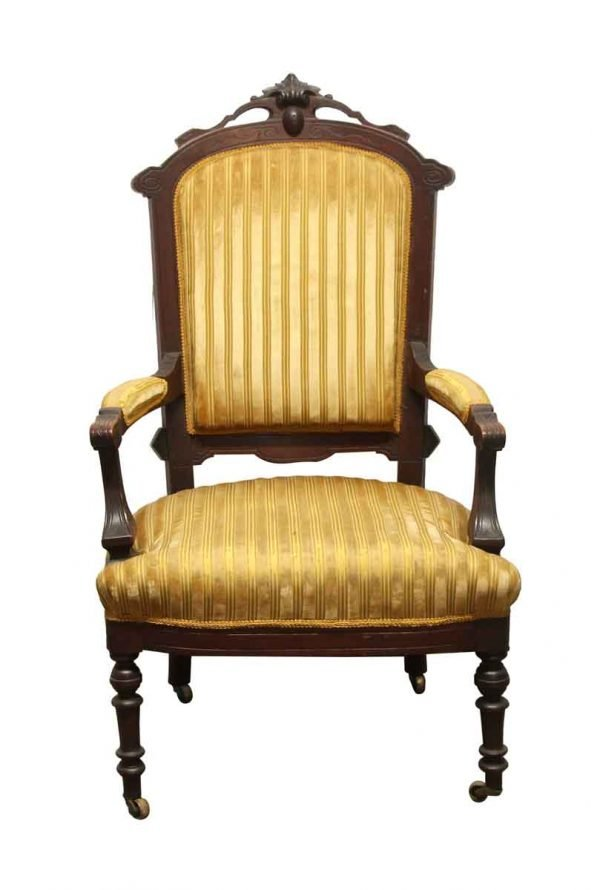 Seating - Antique Eastlake Striped Yellow Wood Rotary Chair