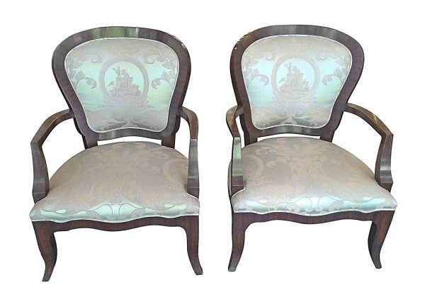 Seating - Pair of Ornately Upholstered Silk Arm Chairs
