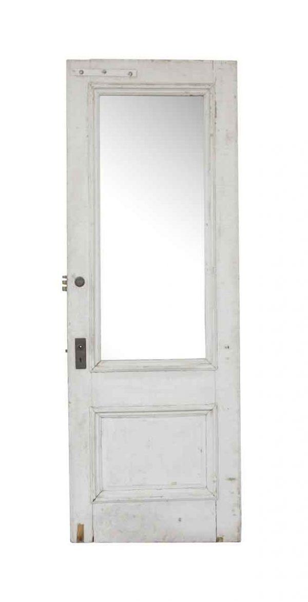 Entry Doors - Antique Single Lite White Wood Entry Door 89.5 x 31.875