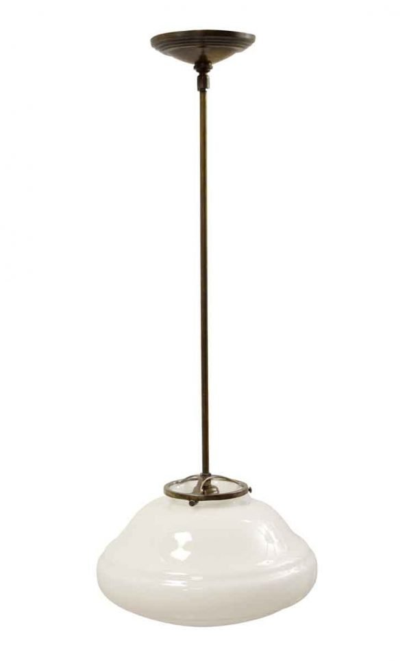 Globes - Antique 11.5 in. Schoolhouse Globe with Brass Pole Pendant Light