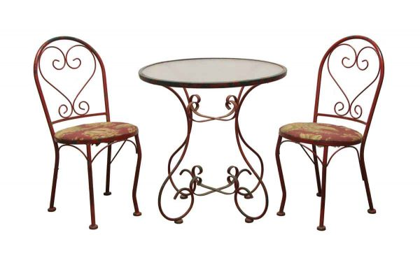 Patio Furniture - Vintage Red Steel & Glass Top Patio Table Set