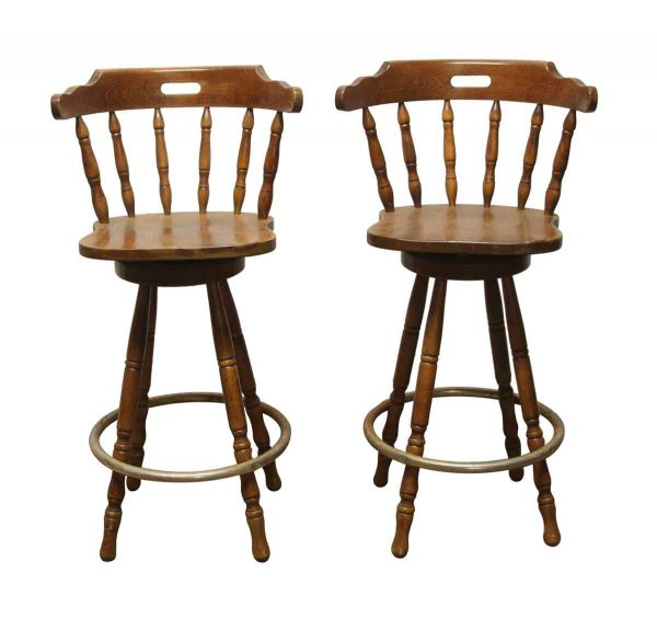 Seating - Pair of Traditional Wood Captain Swivel 30 in. Bar Stools
