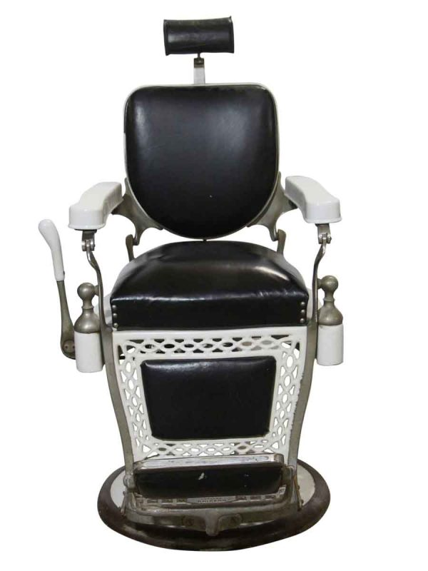 Commercial Furniture - Antique Paidar Black Leather Barber Chair
