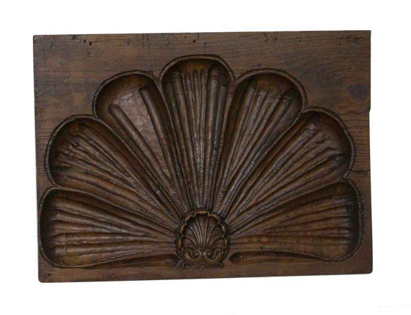Flooring & Antique Wood - Carved Shell Motif Oak Molding Plaque 20 x 15