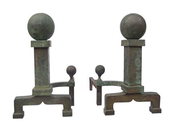 Andirons - Antique Ball Tip Bronze Patina Andirons
