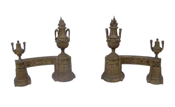 Andirons - Antique Ornate Torche Brass Andirons
