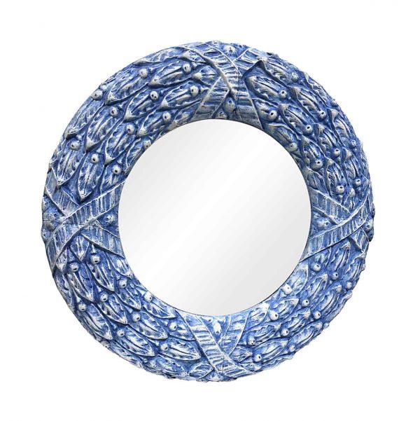 Antique Tin Mirrors - Antique 40 in. Round Blue Floral Zinc Mirror