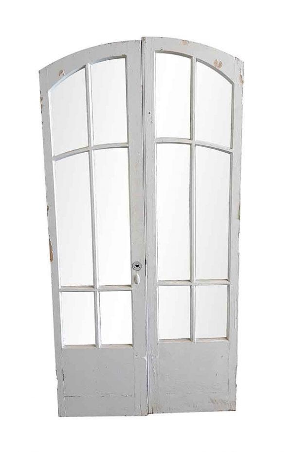 Arched Doors - Antique 6 Lite Wood French Arched Double Doors 78.25 x 38.875