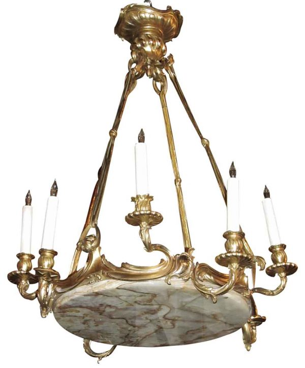 Chandeliers - Antique French Gilt Bronze & Marble Chandelier