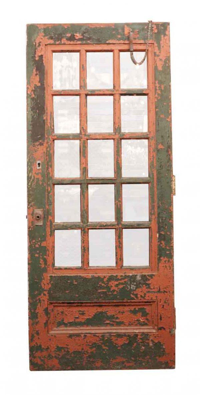 Commercial Doors - Painted Wooden Door with 15 Mixed Glass Lites 82.75 x 34.5