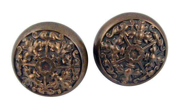 Door Knobs - Pair of 4 Fold French Bronze Entry Doorknobs