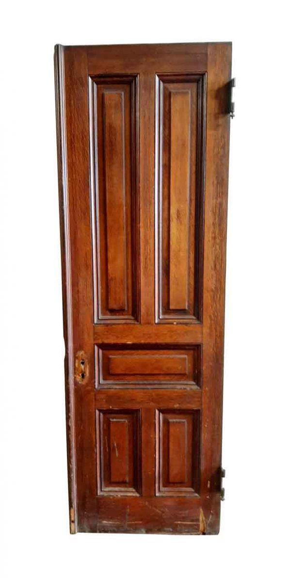 Entry Doors - Antique 5 Pane Tiger Oak Wood Entry Door 87.5 x 28.25