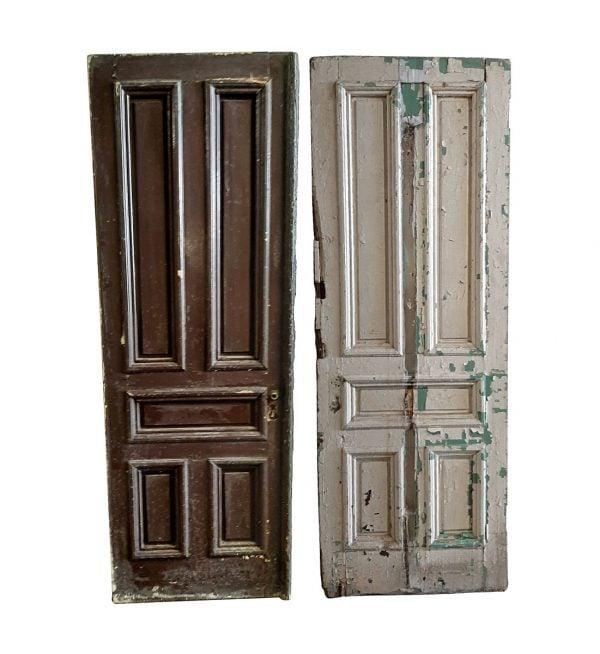 Entry Doors - Antique 5 Pane Wood Entry Double Doors 85 x 58