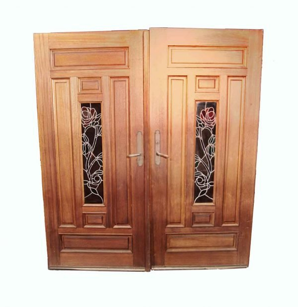 Entry Doors - Salvaged Stained Glass Lite Double Entry Doors 78 x 70.75