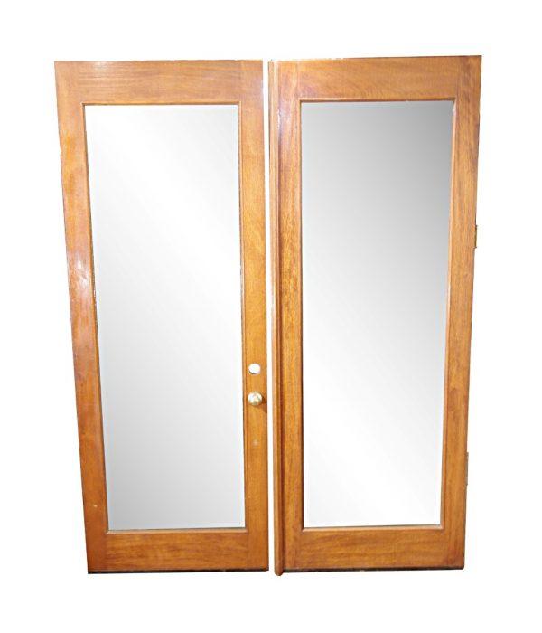 Entry Doors - Vintage Single Lite Oak Patio Double Doors 95 x 72.5