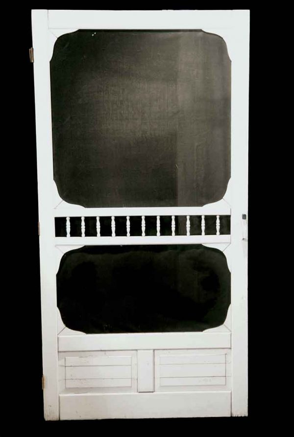 Entry Doors - Vintage White Wood Screen Door 81.5 x 41.5