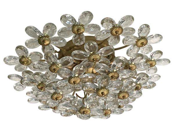 Flush & Semi Flush Mounts - Crystal & Gold Leaf Floral Flush Mount Light Fixture