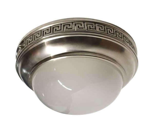 Flush & Semi Flush Mounts - Neoclassical Brushed Nickel Frosted Glass Flush Mount Light