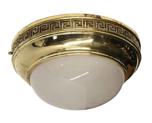 Flush & Semi Flush Mounts - Neoclassical Style Cast Brass Frosted Dome Flush Mount Light