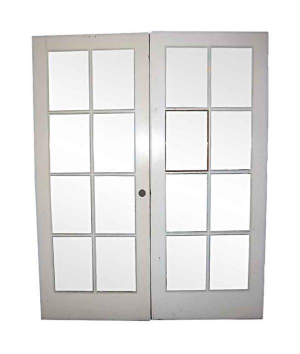 French Doors - Antique 8 Lite Pine French Double Doors 90 x 72.25