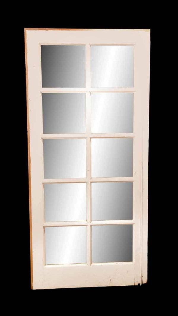 French Doors - Vintage 10 Lite White Wood French Door