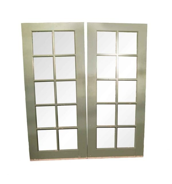 French Doors - Vintage 10 Lite Wood Double French Doors 77 x 67