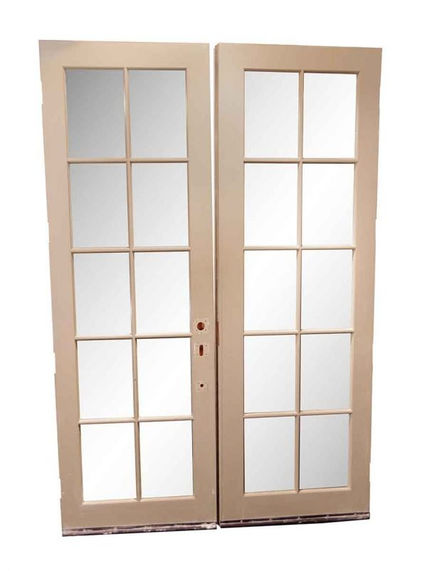 French Doors - Vintage 10 Lite Wood French Double Doors 93 x 60.875