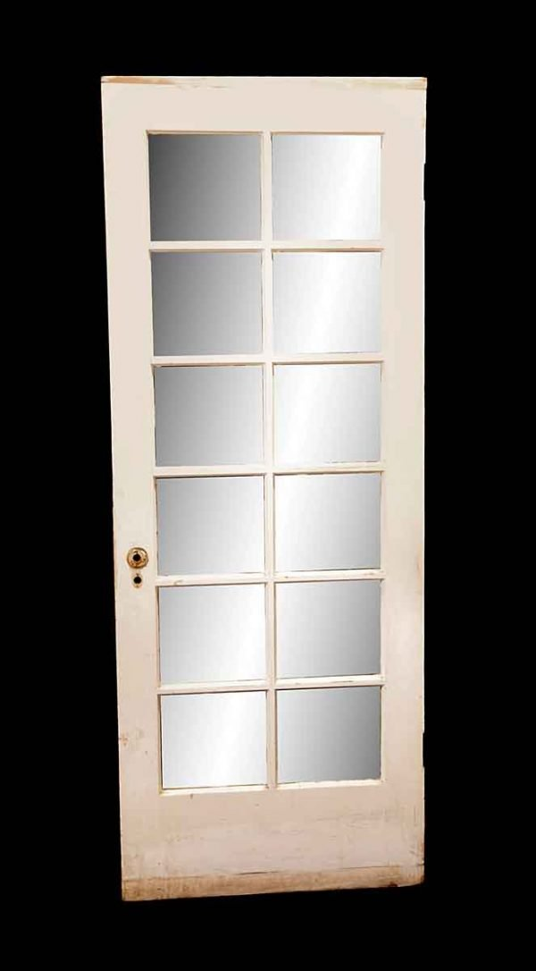 French Doors - Vintage 12 Lite White Wood French Door 82.5 x 31.75