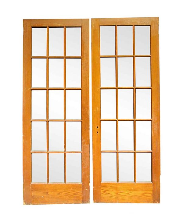 French Doors - Vintage 15 Lite Oak Wood French Double Doors 83.5 x 59.5