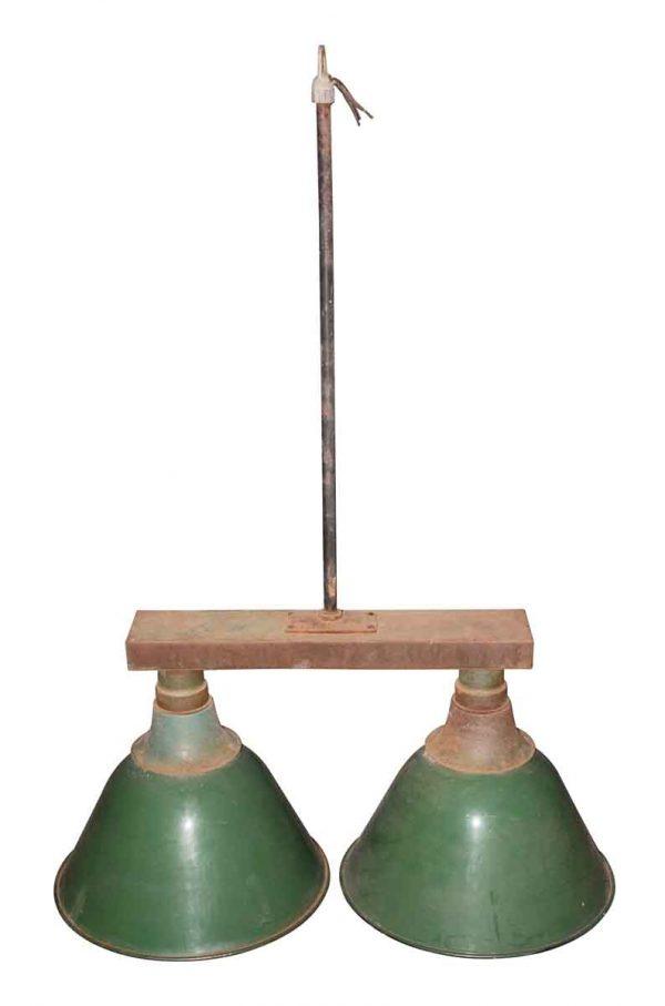 Industrial & Commercial - 1930s Double Green Enamel Warehouse Pendant Light