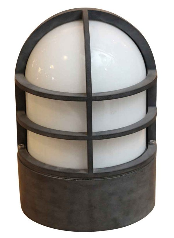 Industrial & Commercial - Industrial Aluminum & Milk Glass Passage Ceiling Light