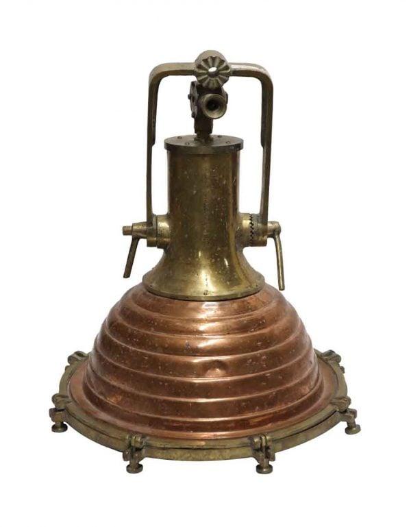Nautical Lighting - Vintage Copper & Brass Beehive Ship Pendant Light