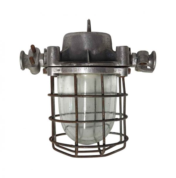 Nautical Lighting - Vintage Steel & Glass Ship Light with Cage
