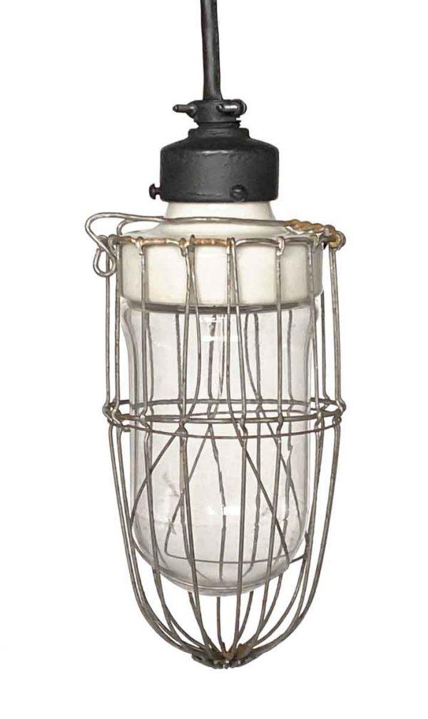 Pendant Lights - 1920 Industrial Cage Pendant Light with Porcelain Fixture