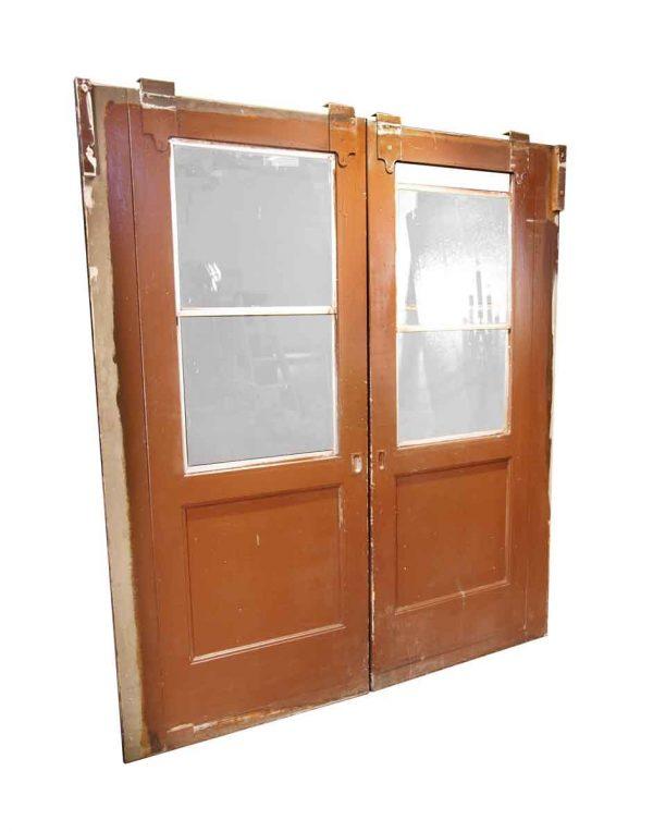 Pocket Doors - Vintage 2 Lite Windows Wood Pocket Doors 84 x 75.375