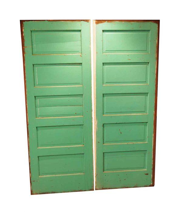 Pocket Doors - Vintage 5 Pane Chestnut Pocket Double Doors 80 x 60