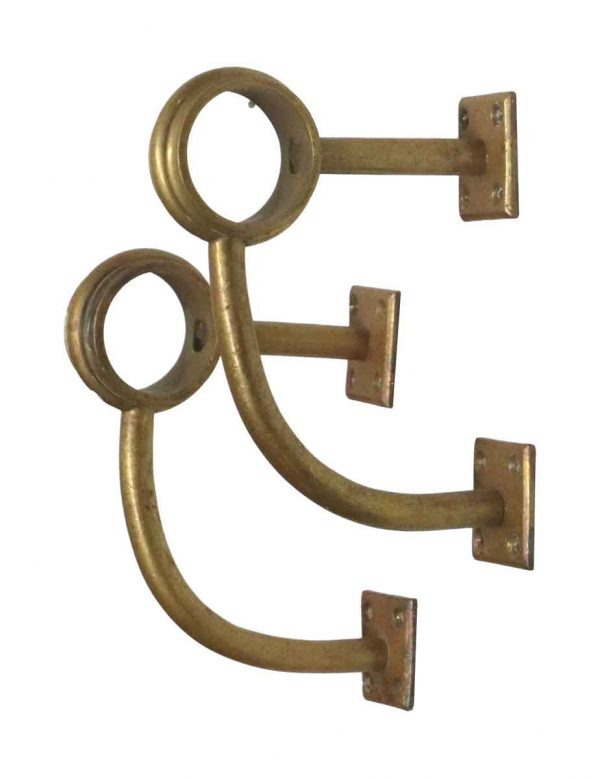 Railing Hardware - Pair of Brass Foot Bar Rail Brackets