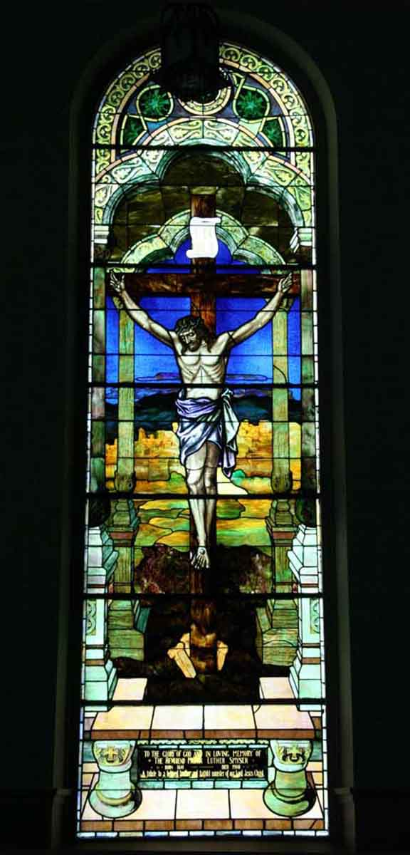 Religious Stained Glass - Religious Stained Glass Portraying the Crucifixion