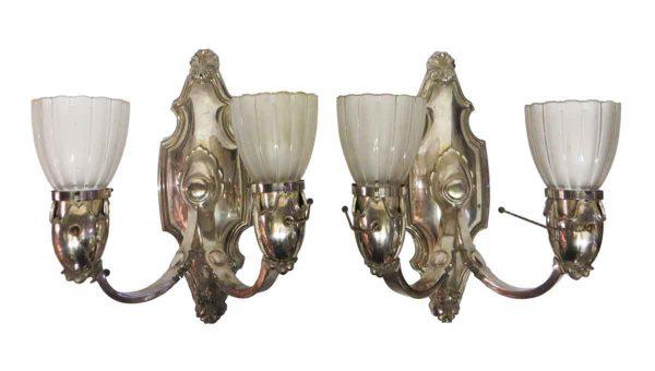 Sconces & Wall Lighting - Pair of Bradley & Hubbard Nickel Over Bronze Sconces
