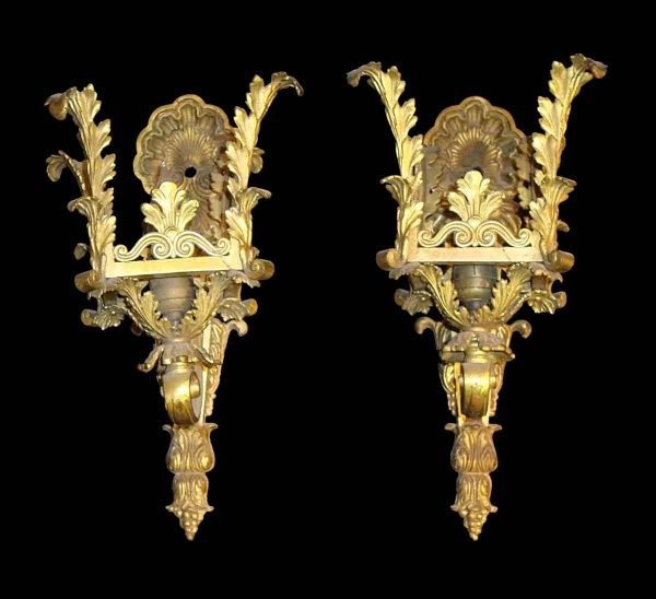 Sconces & Wall Lighting - Pair of Rococo Cast Brass Wall Sconces