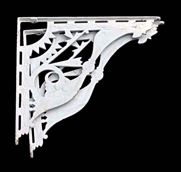 Shelf & Sign Brackets - Antique Eastlake White Cast Iron Shelf Brackets