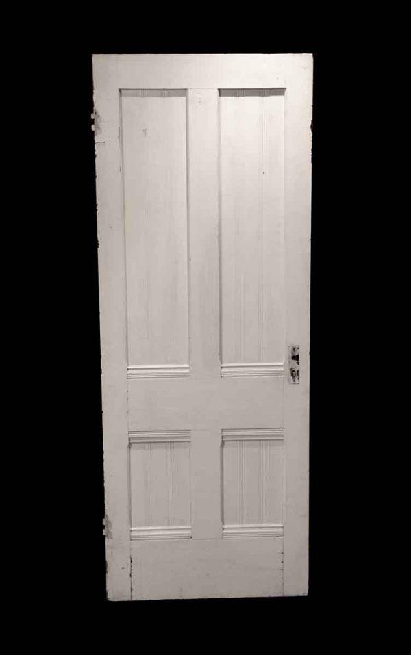 Standard Doors - Antique 4 Panels White Wood Door 78 x 30
