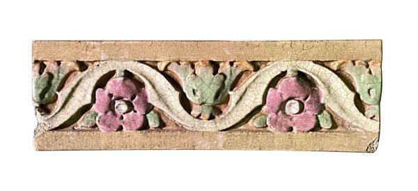 Stone & Terra Cotta - Salvaged Polychrome Floral Terra Cotta Stone