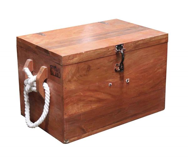 Trunks - Nautical Wood Ship Trunk with Rope Handles