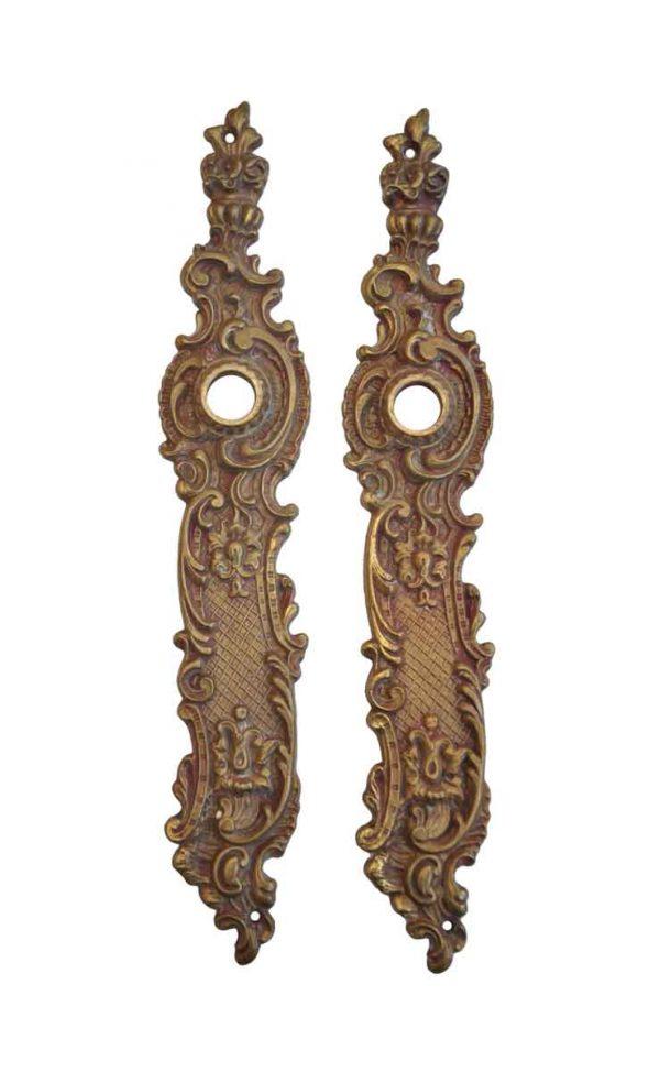 Back Plates - Antique Art Nouveau Brass Pair of Door Back Plates