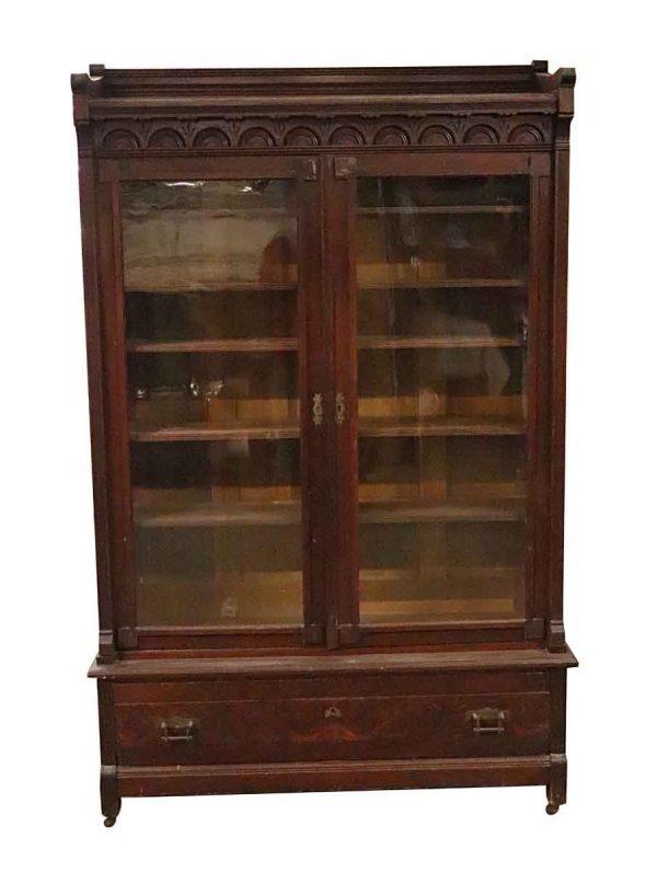 Bookcases - Victorian Walnut Glass Front Bookcase