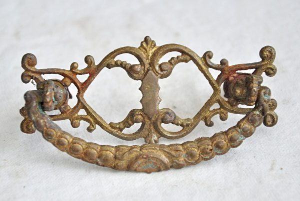 Cabinet & Furniture Pulls - Antique French Brass Cut Out Bail Drawer Pull
